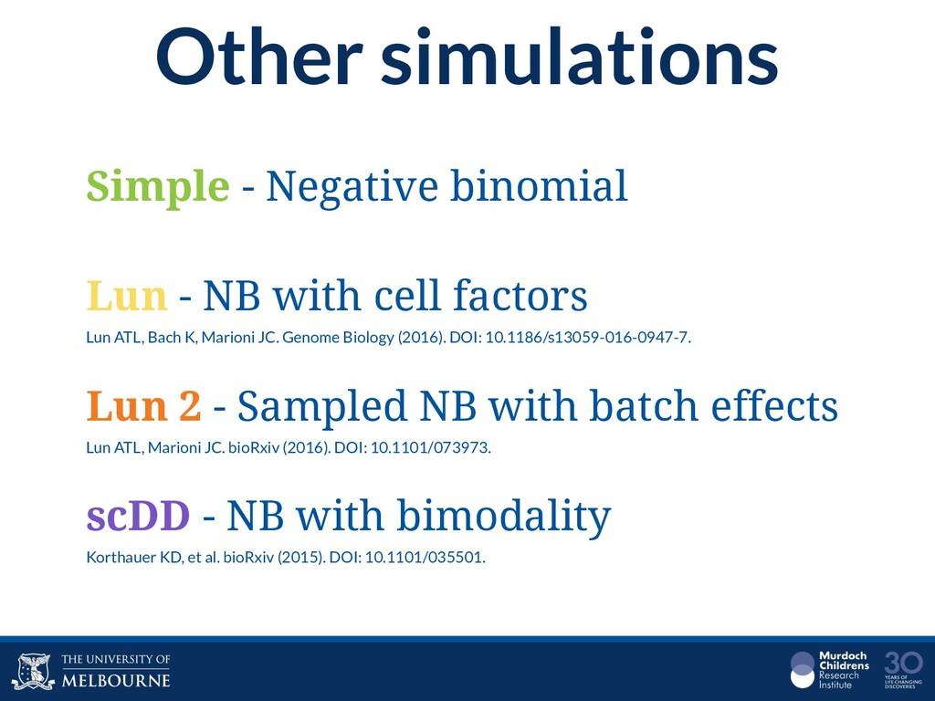 Other simulations Simple - Negative binomial Lu...