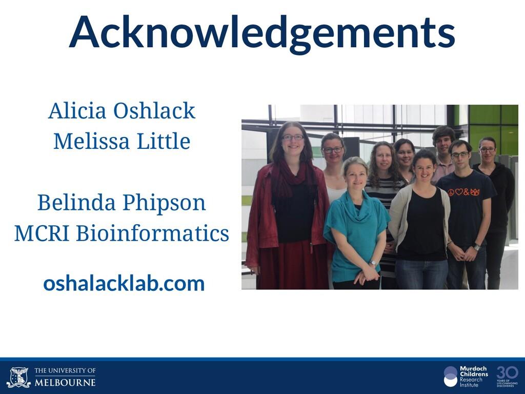 Acknowledgements Alicia Oshlack Melissa Little ...