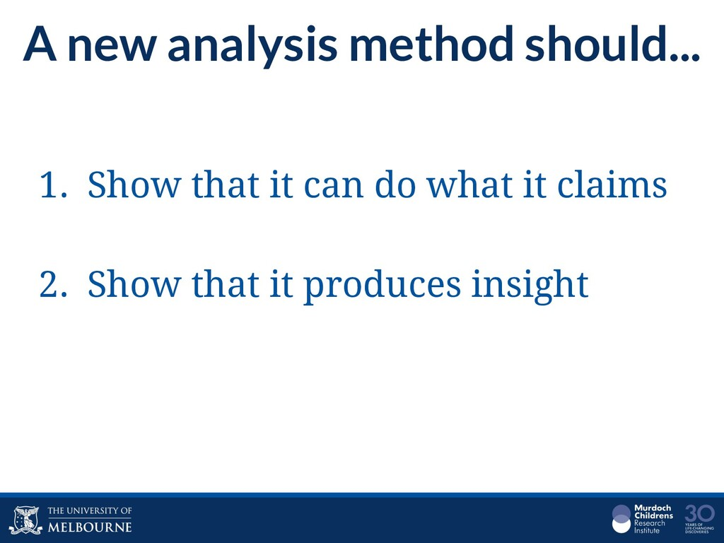 A new analysis method should... 1. Show that it...