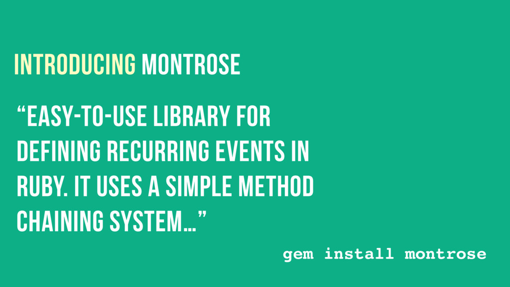 """INTRODUCING MONTROSE """"easy-to-use library for D..."""