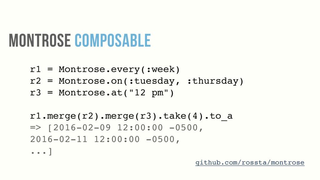 r1 = Montrose.every(:week) r2 = Montrose.on(:tu...