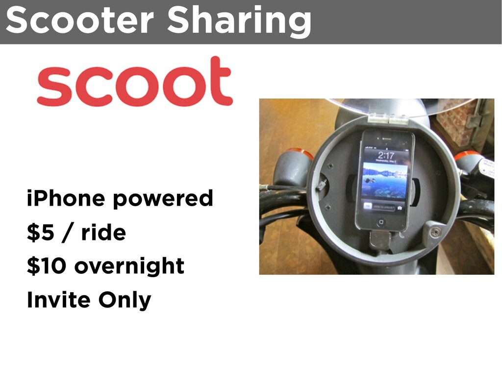 Scooter Sharing iPhone powered $5 / ride $10 ov...