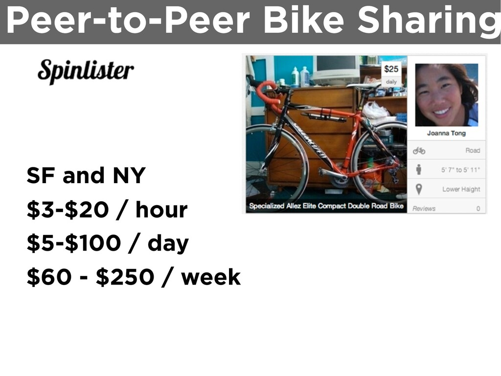 Peer-to-Peer Bike Sharing SF and NY $3-$20 / ho...