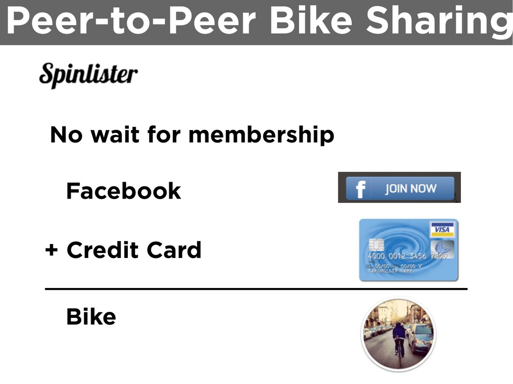Peer-to-Peer Bike Sharing No wait for membershi...