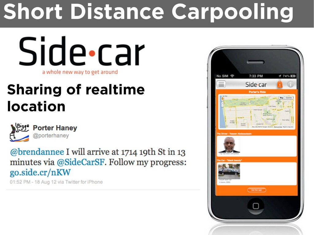 Sharing of realtime location Short Distance Car...