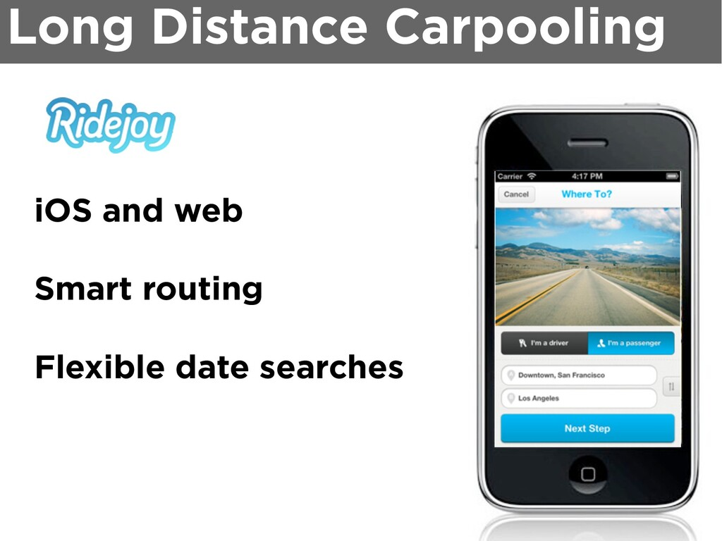 Long Distance Carpooling iOS and web Smart rout...