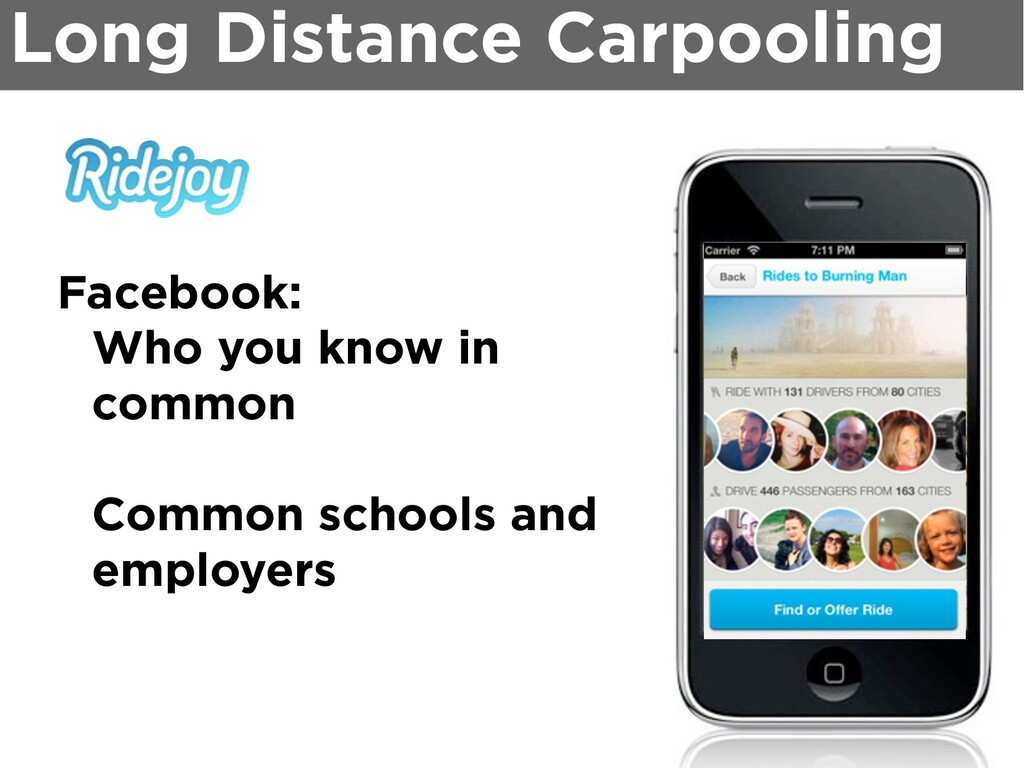 Long Distance Carpooling Facebook: Who you know...