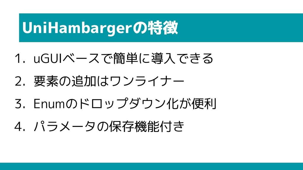 UniHambargerの特徴 1. uGUIベースで簡単に導入できる 2. 要素の追加はワン...