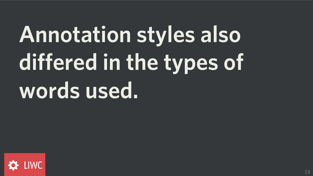 Annotation styles also differed in the types of...