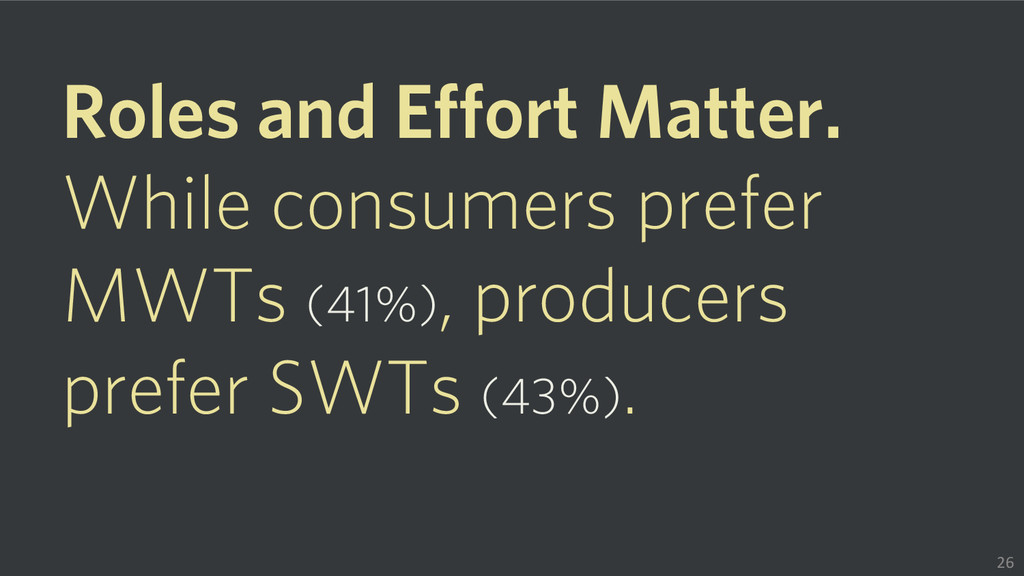 Roles and Effort Matter. While consumers prefer...
