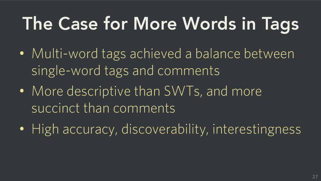 The Case for More Words in Tags • Multi-word ...