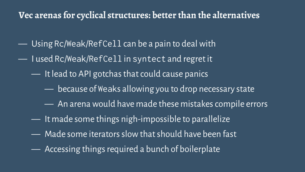 Vec arenas for cyclical structures: better than...