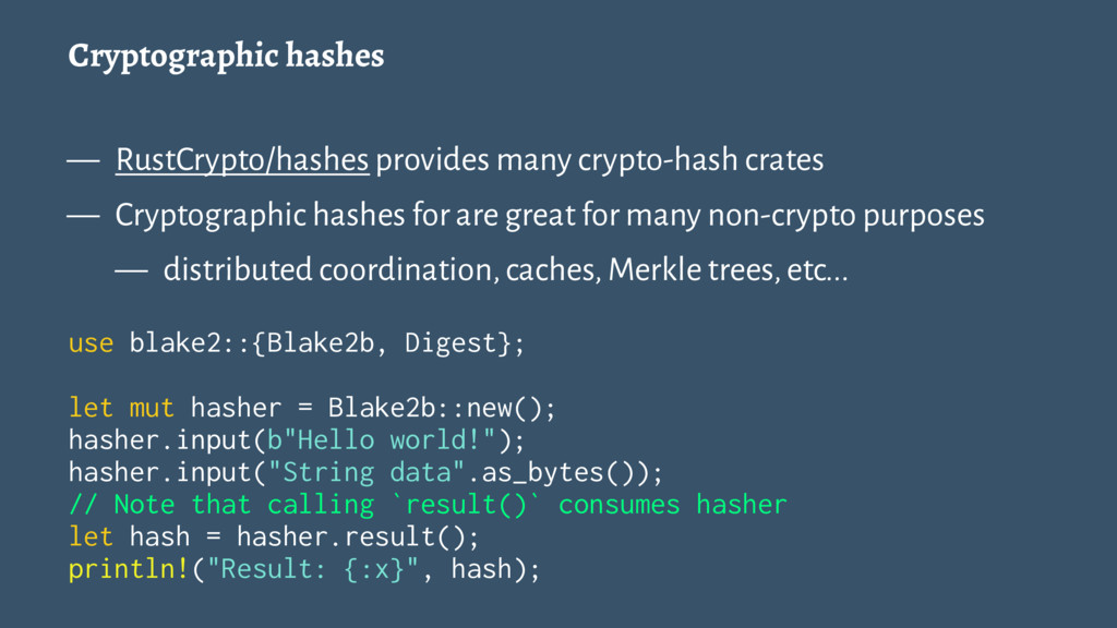 Cryptographic hashes — RustCrypto/hashes provid...