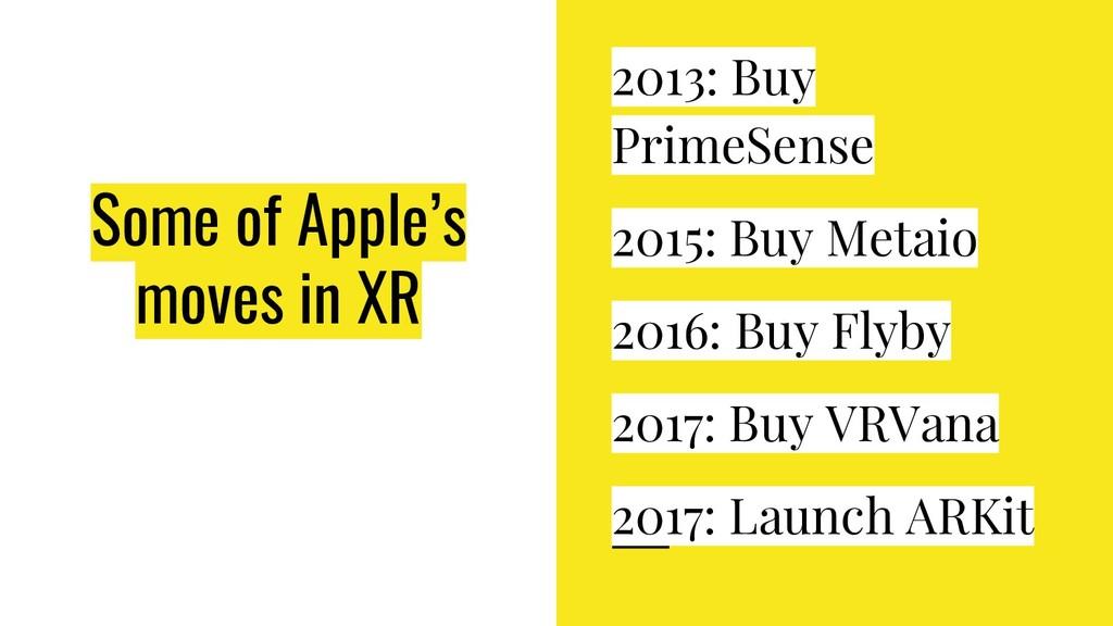 Some of Apple's moves in XR 2013: Buy PrimeSens...