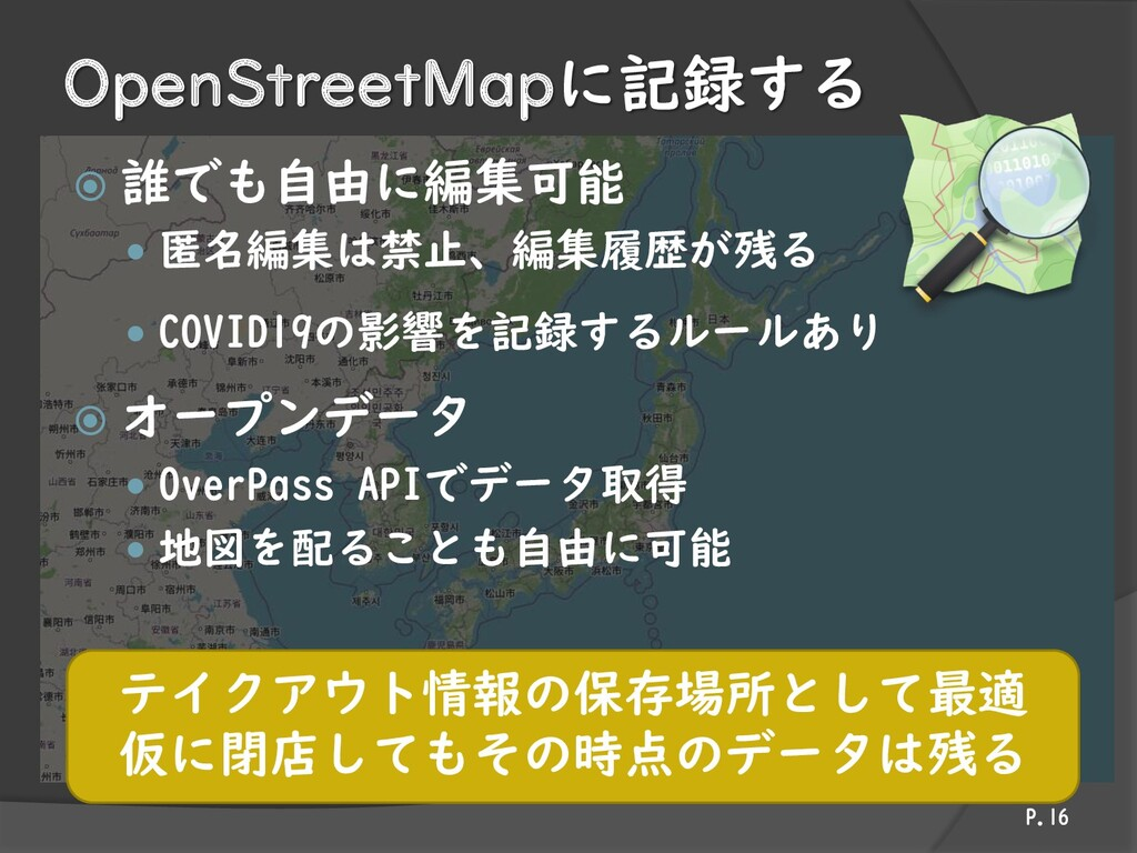 OpenStreetMapに記録する  誰でも自由に編集可能  匿名編集は禁止、編集履歴が...