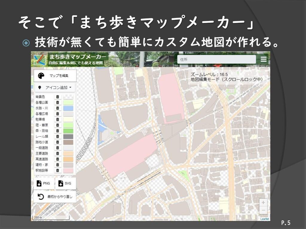 そこで「まち歩きマップメーカー」  技術が無くても簡単にカスタム地図が作れる。 P.5