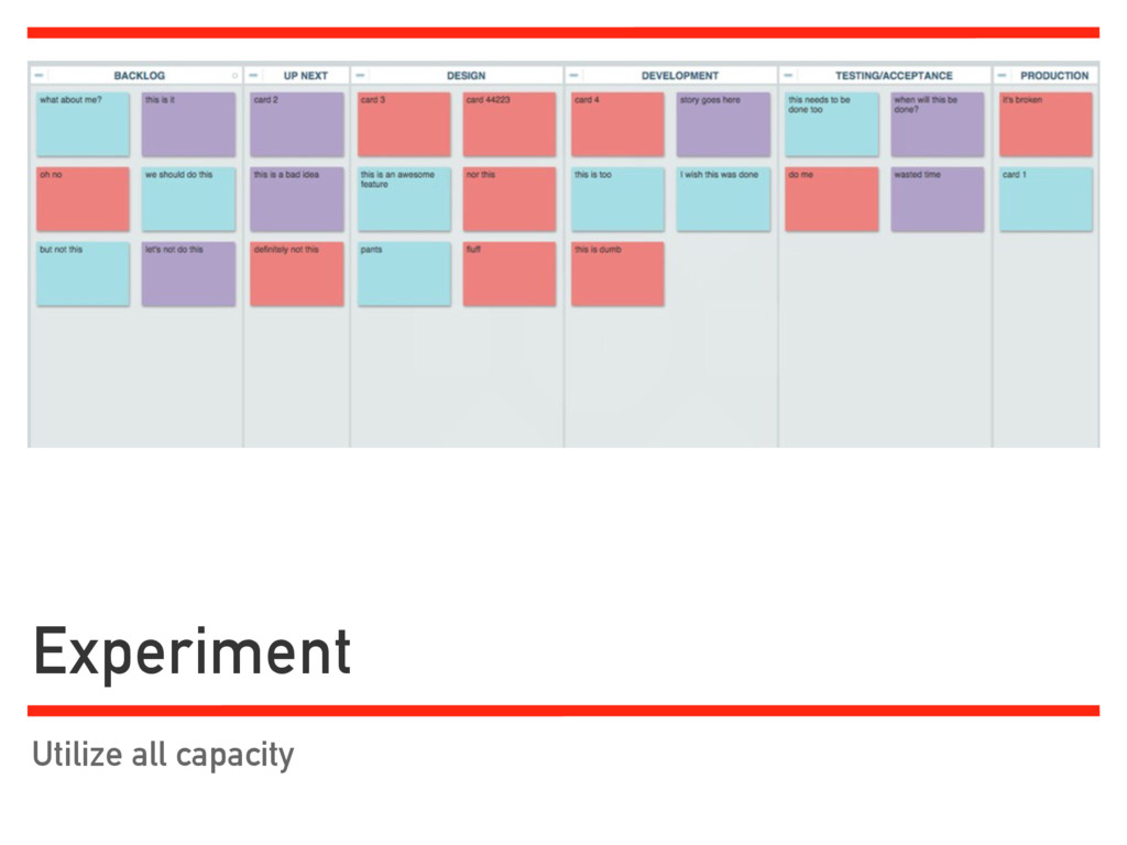 Experiment Utilize all capacity