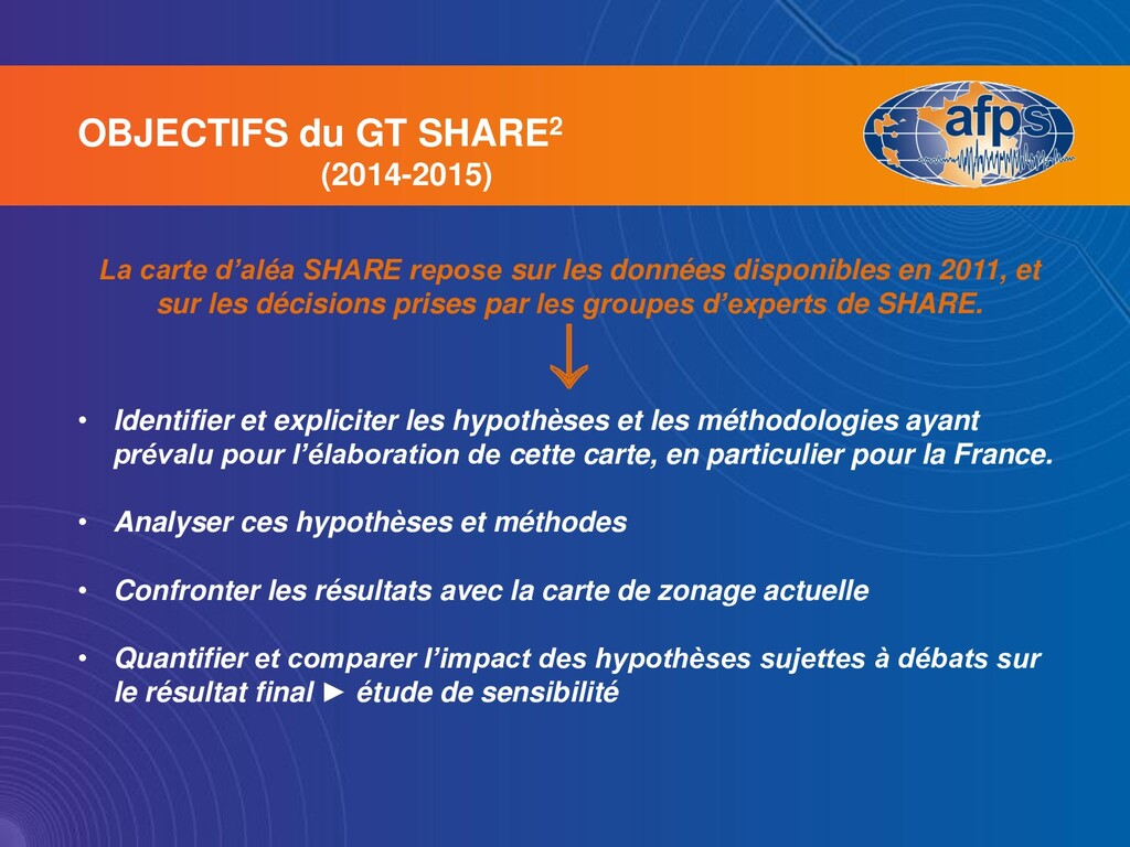 OBJECTIFS du GT SHARE2 (2014-2015) La carte d'a...