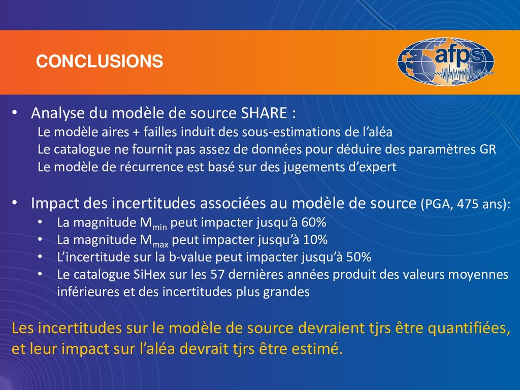 CONCLUSIONS • Analyse du modèle de source SHARE...