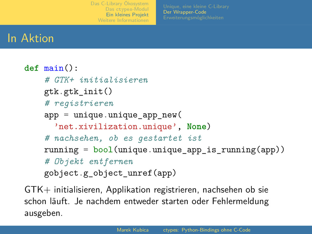 Das C-Library Ökosystem Das ctypes-Modul Ein kl...