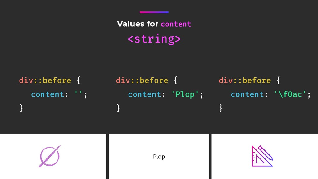 Values for content <string> div::before { conte...