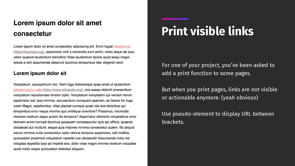 Print visible links For one of your project, yo...