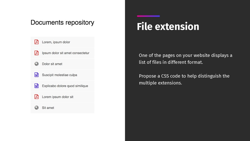 File extension One of the pages on your website...