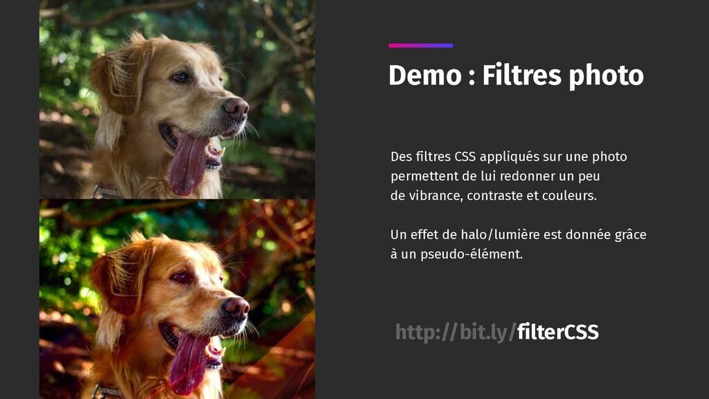 Demo : Filtres photo Des filtres CSS appliqués ...