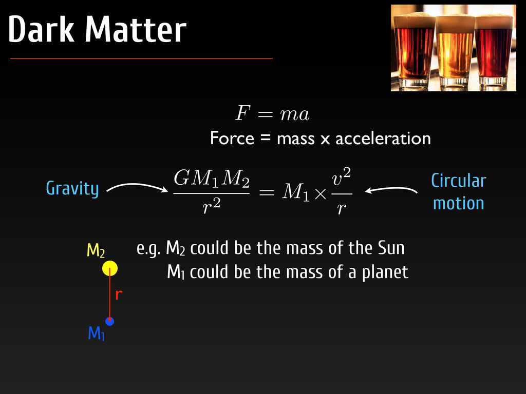 Dark Matter F = ma Force = mass x acceleration ...