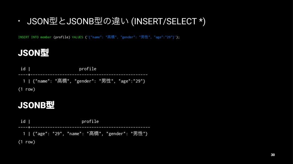 • JSONܕͱJSONBܕͷҧ͍ (INSERT/SELECT *) INSERT INTO...