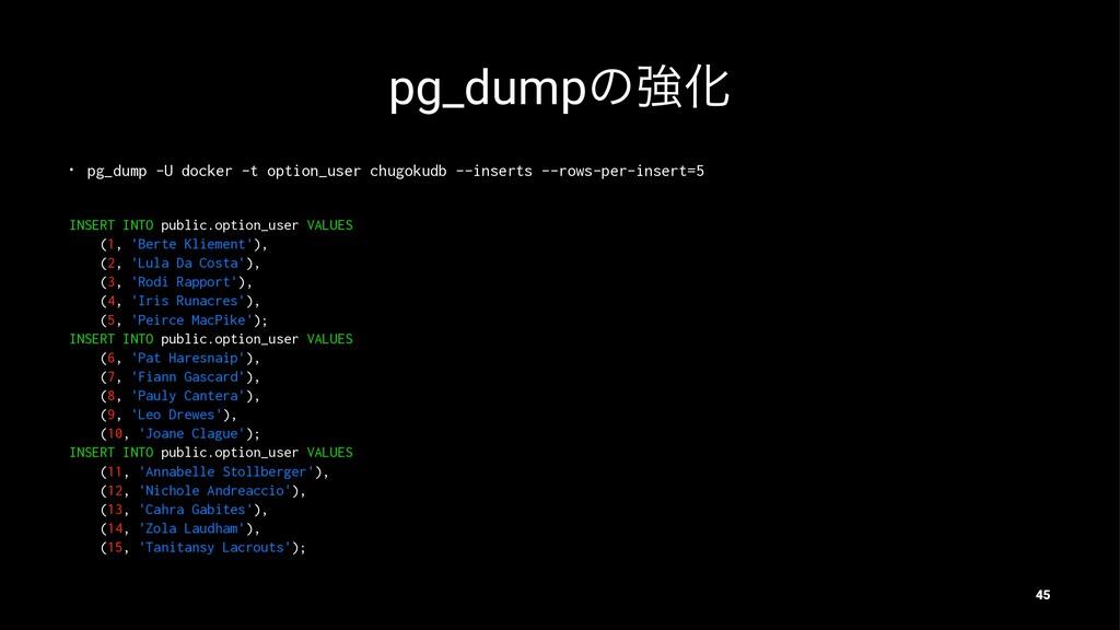 pg_dumpͷڧԽ • pg_dump -U docker -t option_user c...