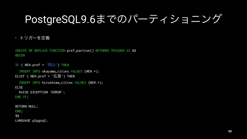PostgreSQL9.6·ͰͷύʔςΟγϣχϯά • τϦΨʔΛఆٛ CREATE OR R...