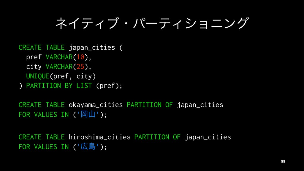 ωΠςΟϒɾύʔςΟγϣχϯά CREATE TABLE japan_cities ( pre...