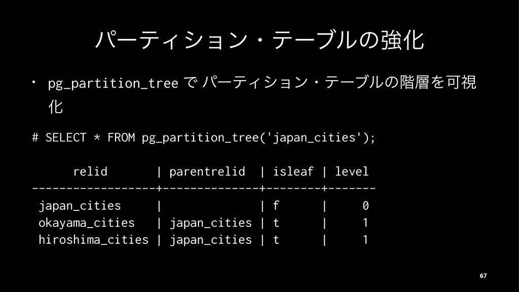 ύʔςΟγϣϯɾςʔϒϧͷڧԽ • pg_partition_tree Ͱ ύʔςΟγϣϯɾς...