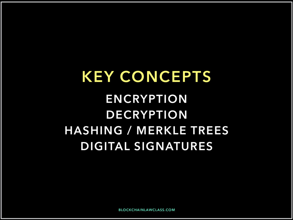 BLOCKCHAINLAWCLASS.COM KEY CONCEPTS ENCRYPTION ...