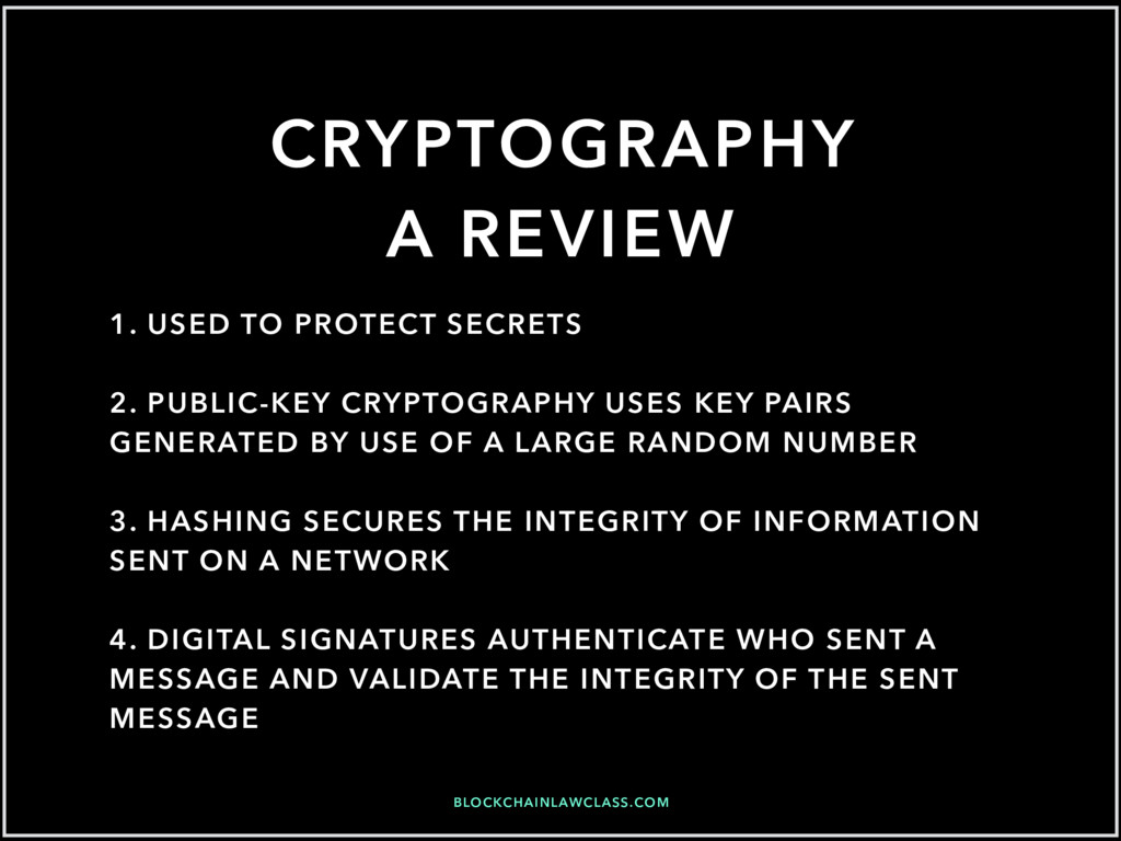 BLOCKCHAINLAWCLASS.COM CRYPTOGRAPHY A REVIEW 1....