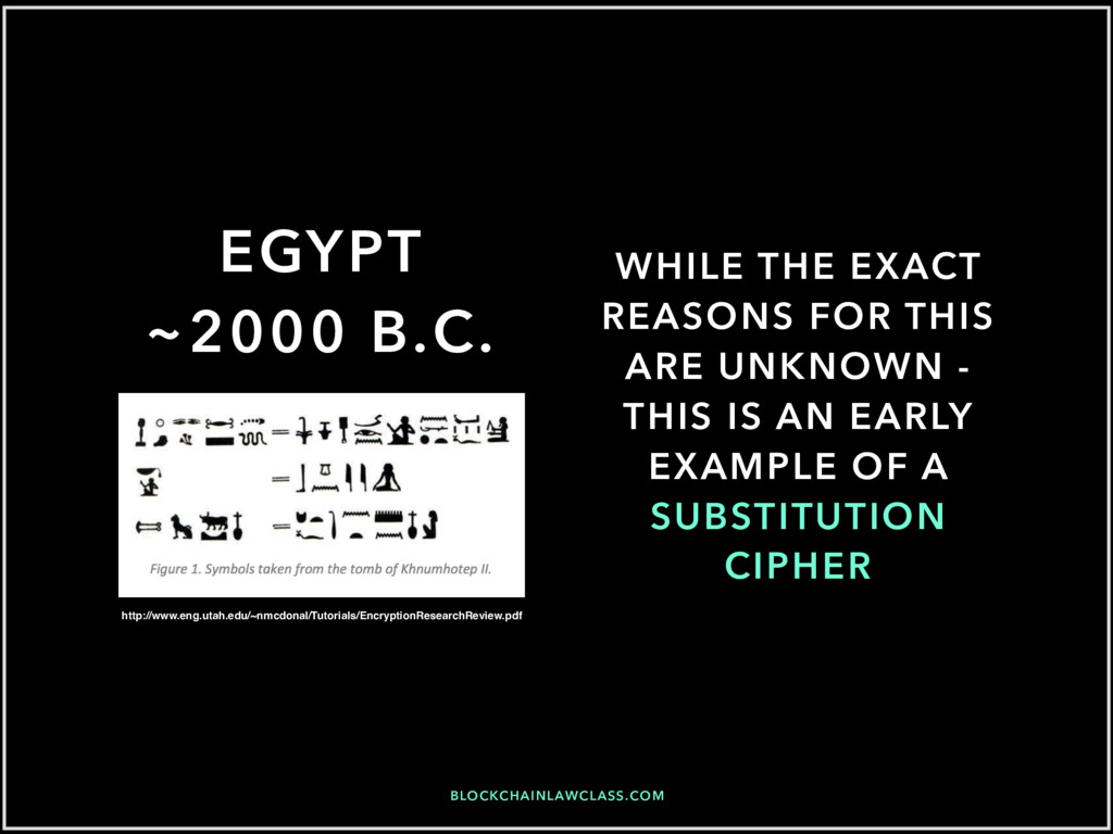 BLOCKCHAINLAWCLASS.COM EGYPT ~2000 B.C. WHILE T...