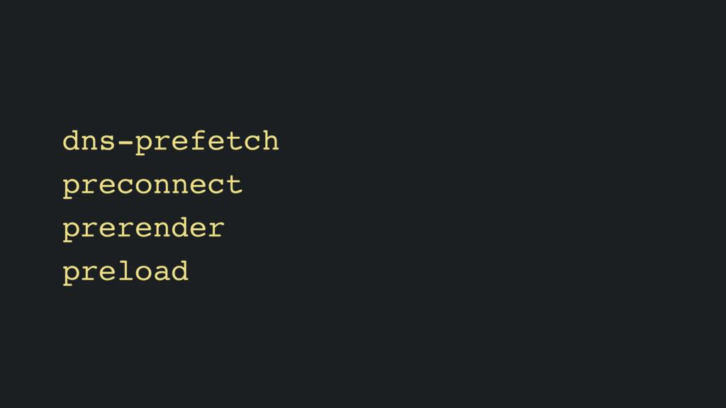 dns-prefetch preconnect prerender preload
