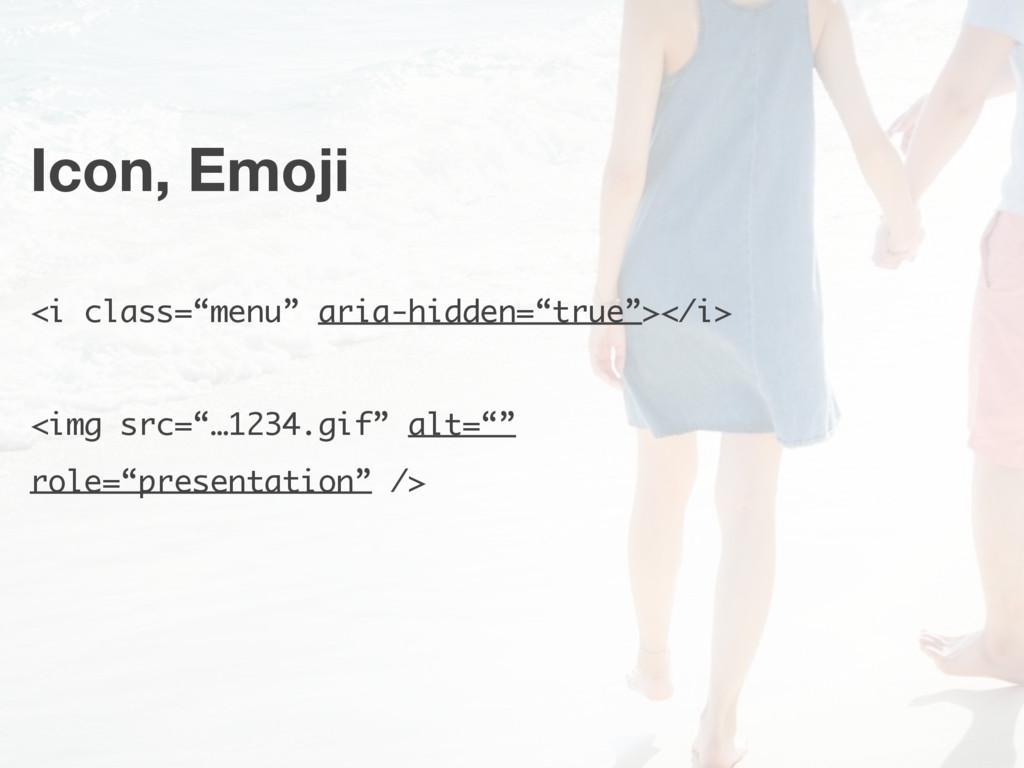 """Icon, Emoji <i class=""""menu"""" aria-hidden=""""true"""">..."""