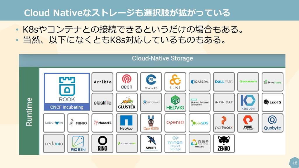 18 Cloud Nativeなストレージも選択肢が拡がっている • K8sやコンテナとの接続...