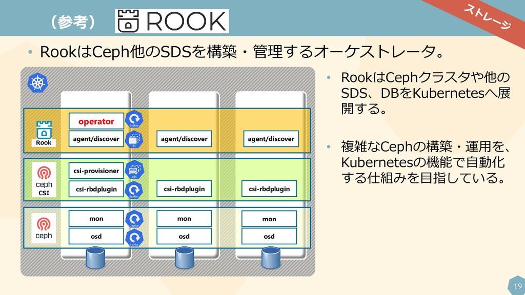 19 (参考) • RookはCeph他のSDSを構築・管理するオーケストレータ。 opera...