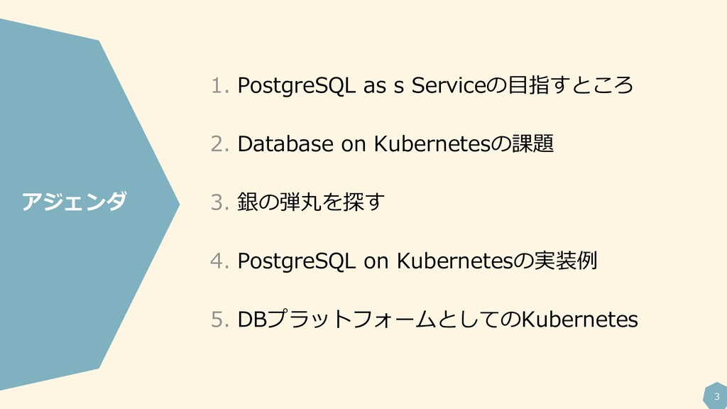 3 1. PostgreSQL as s Serviceの目指すところ 2. Database...