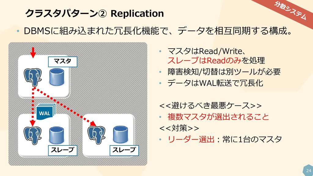 24 クラスタパターン② Replication WAL • マスタはRead/Write、 ...
