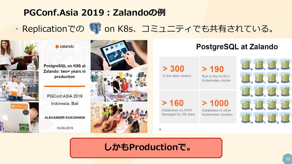 38 PGConf.Asia 2019:Zalandoの例 • Replicationでの o...