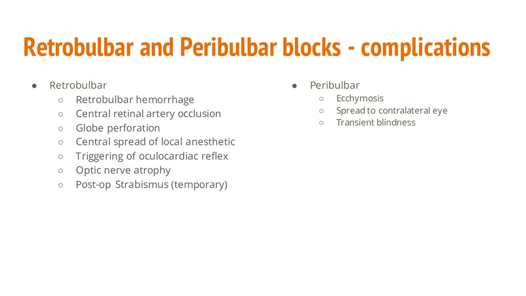 Retrobulbar and Peribulbar blocks - complicatio...