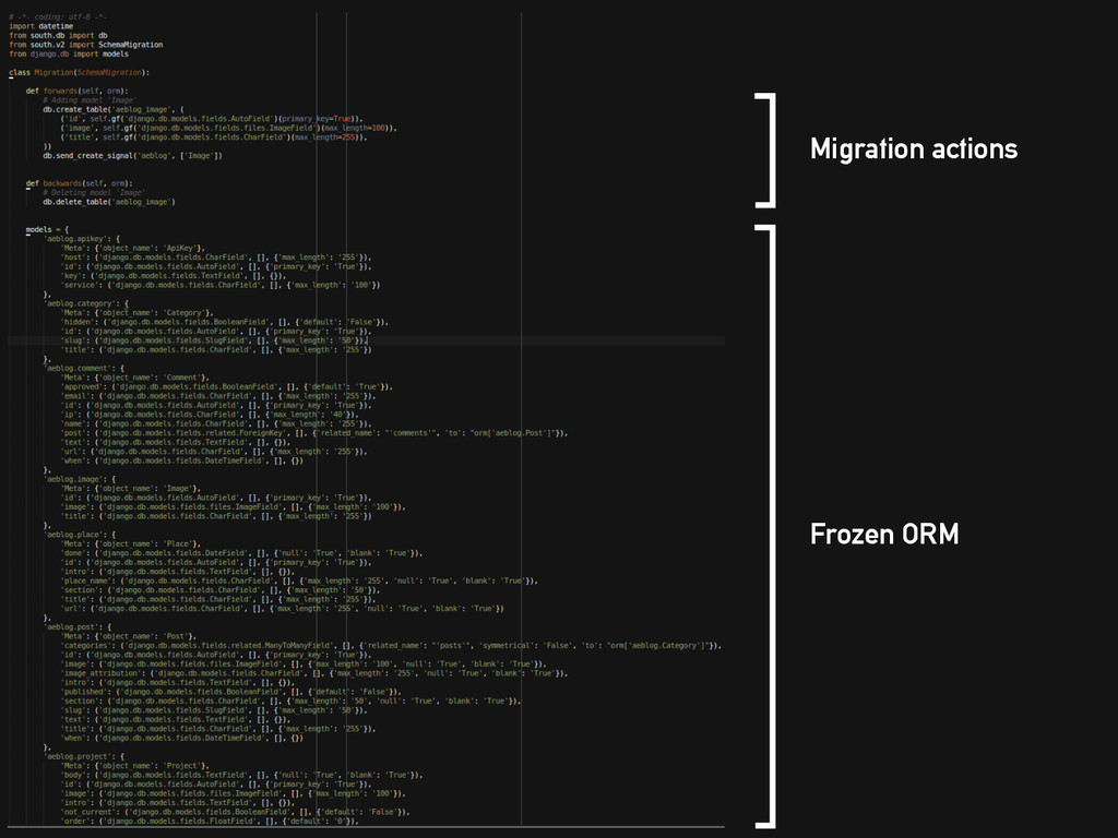 Migration actions Frozen ORM