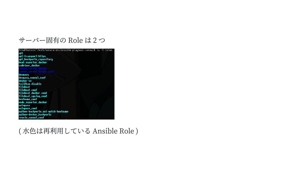 サーバー固有の Role は 2 つ ( 水色は再利用している Ansible Role )