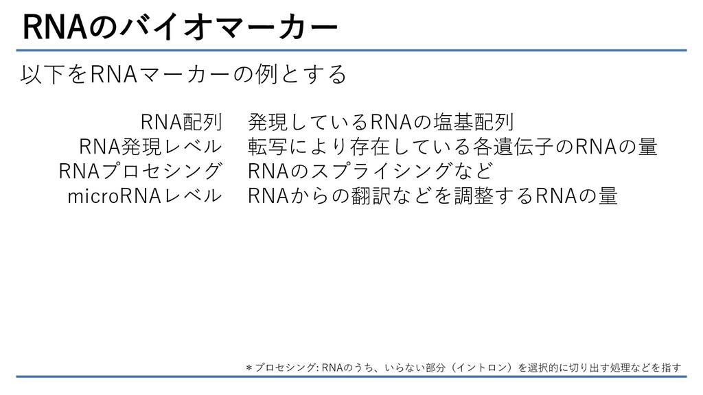 RNAのバイオマーカー 以下をRNAマーカーの例とする RNA配列 RNA発現レベル RNAプ...