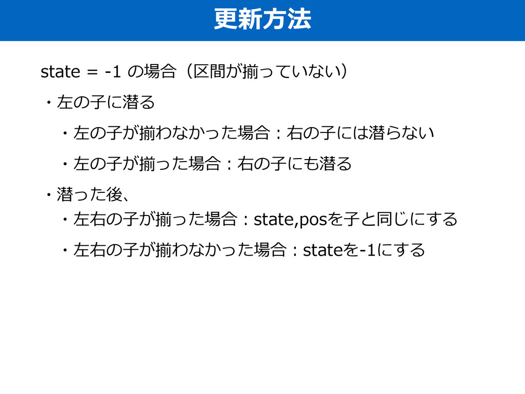 更更新⽅方法 state = -‐‑‒1 の場合(区間が揃っていない)  ・左の⼦子に...