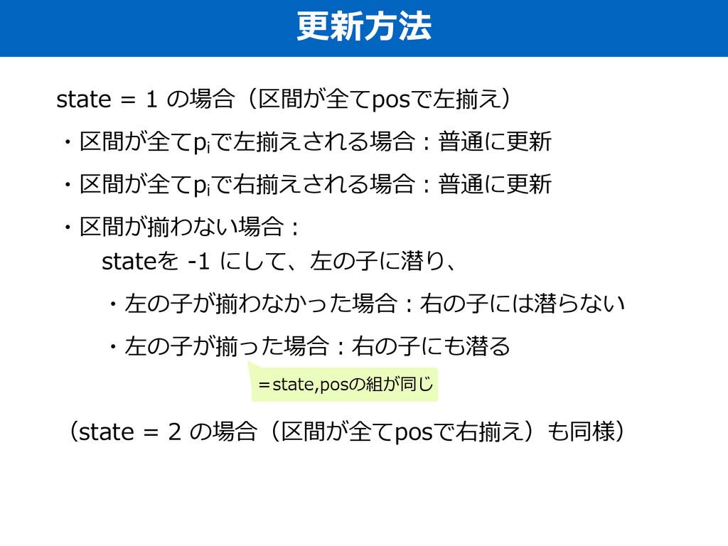 更更新⽅方法 state = 1 の場合(区間が全てposで左揃え)  ・区間が全てp...